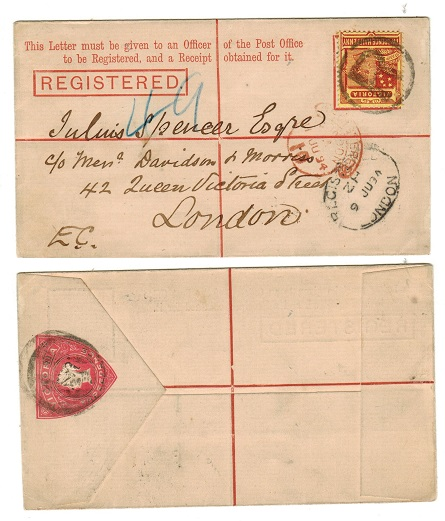 AUSTRALIA (Victoria) - 1893 3d red RPSE uprated to UK.  H&G 10.