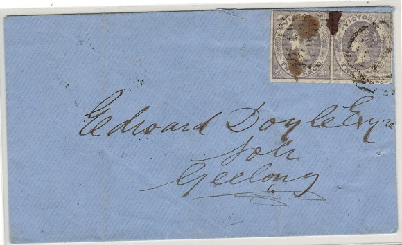 AUSTRALIA (Victoria) - 1860 4d rate cover addressed locally to Geelong.