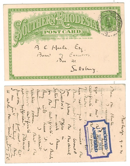 SOUTHERN RHODESIA - 1931 1/2d yellowish green PSC to Salisbury used at BEIT BRIDGE.