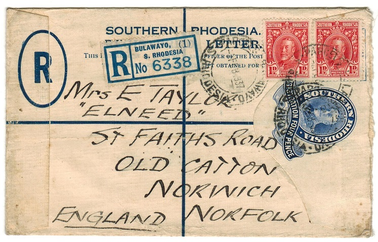 SOUTHERN RHODESIA - 1931 4d blue RPSE uprated to UK and used at PARCELS BULAWAYO.  h&g 4.
