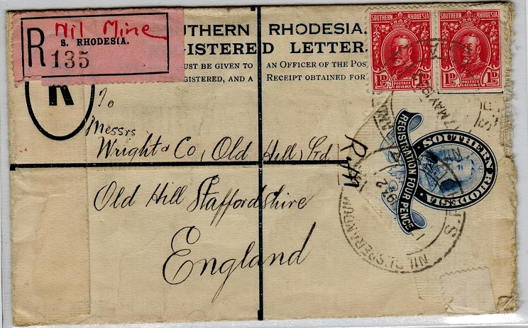 SOUTHERN RHODESIA - 1931 4d blue RPSE to UK uprated at NIL DESPERANDUM MINE. Very scarce.  H&G 2.