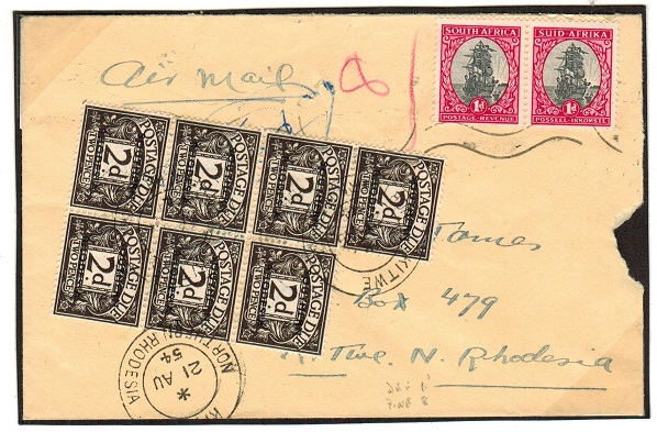 SOUTHERN RHODESIA - 1954 inward underpaid cover from South Africa with 2d