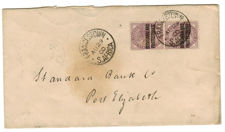 BECHUANALAND - 1900 2d rate cover to Port Elizabeth used at FRANCISTOWN.