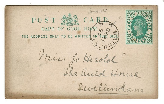 CAPE OF GOOD HOPE - 1892 1/2d green PSC used locally from BATHURST.  H&G 5.