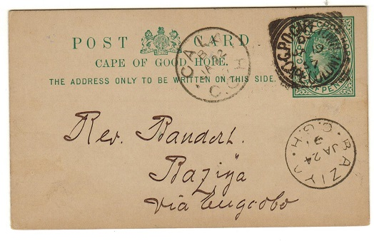 CAPE OF GOOD HOPE - 1892 1/2d green PSC used locally to BAZIYA from Cape Town.  H&G 5.