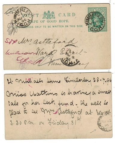 CAPE OF GOOD HOPE - 1892 1/2d green PSC from KIMBERLEY with RETURNED LETTER/CAPETOWN strike.  H&G 5.