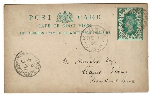 CAPE OF GOOD HOPE - 18912 1/2d green PSC used locally from GEORGE.  H&G 5.