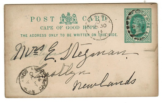 CAPE OF GOOD HOPE - 1892 1/2d green PSC used locally from KALK BAY.  H&G 5.