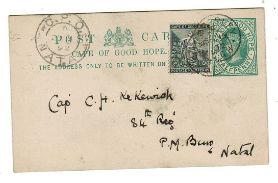 CAPE OF GOOD HOPE - 1892 1/2d green PSC used locally and uprated at KIMBERLEY.  H&G 5.