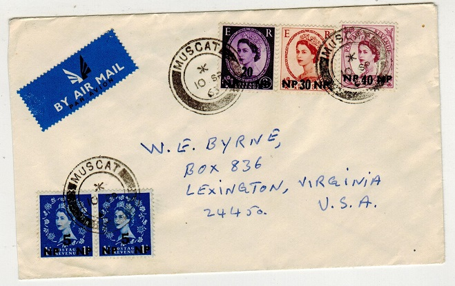 BR.P.O.IN E.A. (Muscat) - 1963 multi franked cover to USA used at MUSCAT.