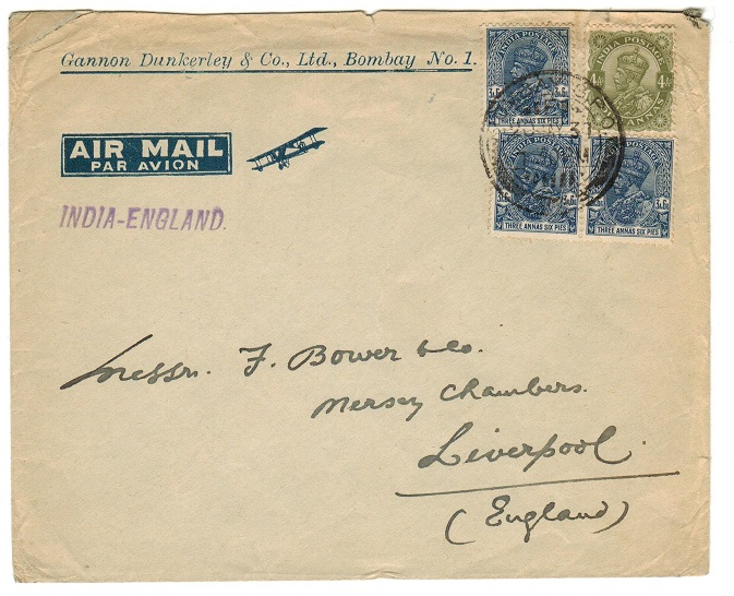 INDIA - 1937 cover to UK struck by INDIA-ENGLAND violet transmission handstamp.