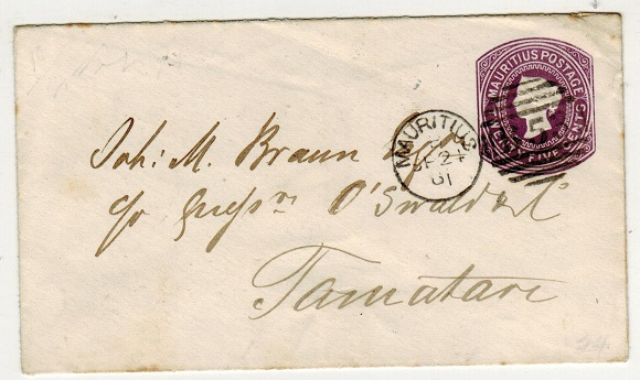 MAURITIUS - 1878 25c violet PSE used locally.  H&G 10.
