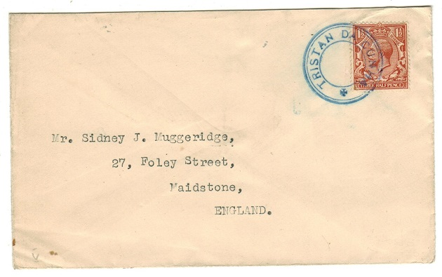 TRISTAN DA CUNHA - 1929 (circa) 1 1/2d rate cover to UK with (SG C6) handstamp struck in blue.