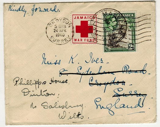 JAMAICA - 1940 2d rate cover to UK used at MALVERN with