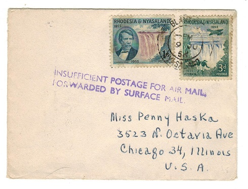 RHODESIA AND NYASALAND - 1956 INSUFFICIENT POSTAGE FOR AIRMAIL cover to USA.