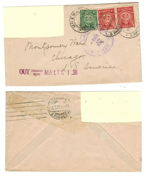 RHODESIA - 1920 2 1/2d rate cover (fault) to USA used at MREWA.