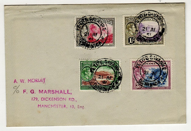 DOMINICA - 1951 multi franked cover to UK used at PETITE SAVANNE.