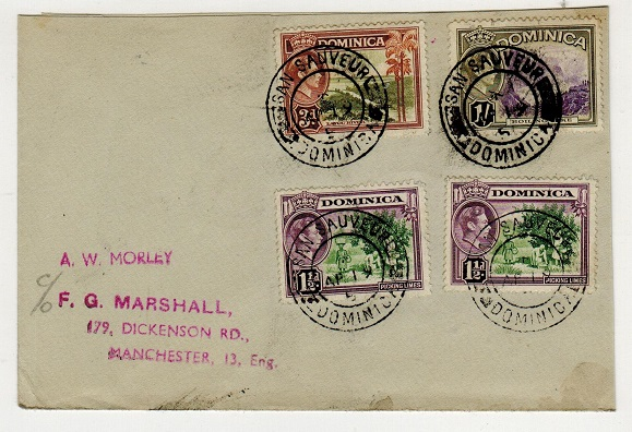 DOMINICA - 1951 multi franked cover to UK used at SAN SAUVEUR.