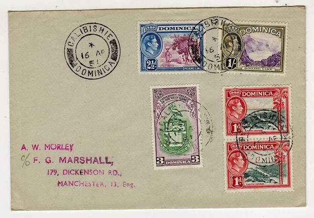 DOMINICA - 1951 multi franked cover to UK used at CALIBISHIE.