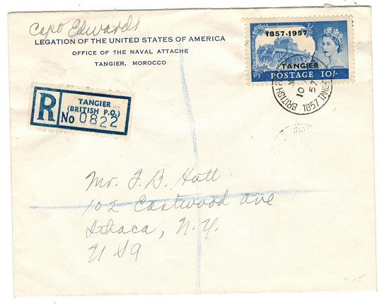 MOROCCO AGENCIES - 1957 10/- registered cover use to USA.