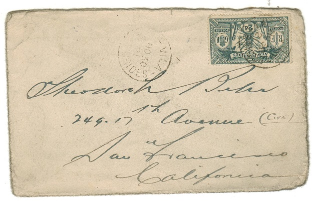 NEW HEBRIDES - 1921 2d rate cover to USA.
