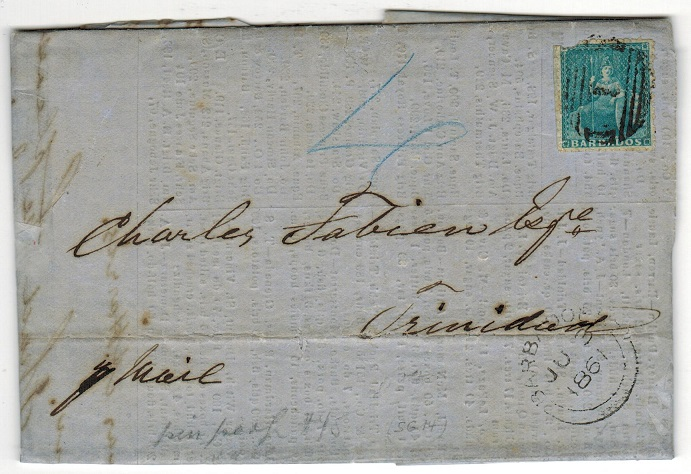 BARBADOS - 1861 (1d) pin perf used on entire to Trinidad.