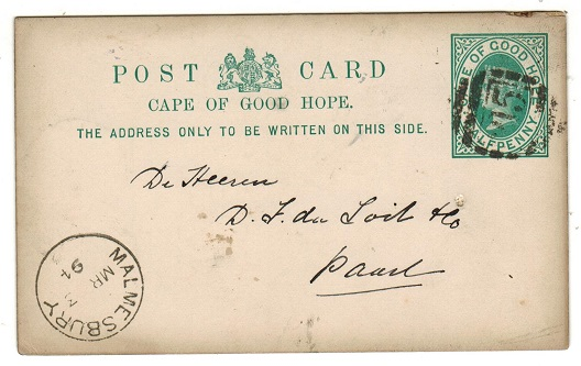 CAPE OF GOOD HOPE - 1892 1/2d green PSC used at MALMESBURY.  H&G 5.