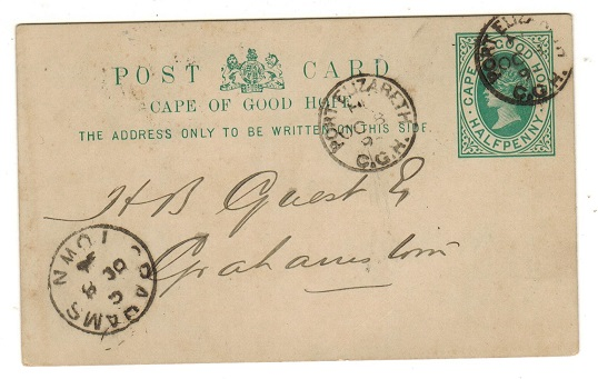 CAPE OF GOOD HOPE - 1892 1/2d green PSC used at PORT ELIZABETH.  H&G 5.