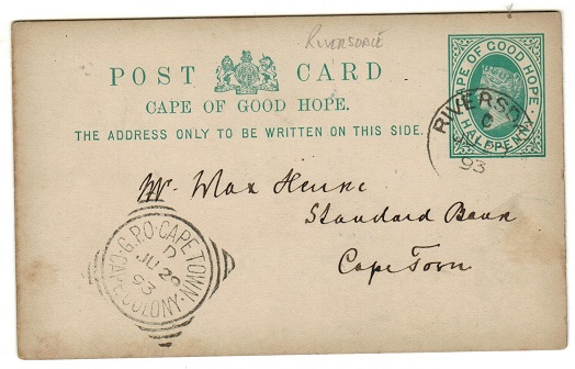 CAPE OF GOOD HOPE - 1892 1/2d green PSC used at RIVERSDALE.  H&G 5.