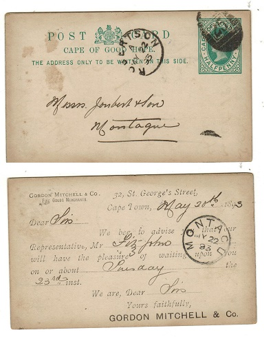CAPE OF GOOD HOPE - 1892 1/2d green PSC used at ROBERTSON.  H&G 5.
