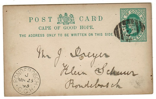 CAPE OF GOOD HOPE - 1892 1/2d green PSC used at RONDEBOSCH.  H&G 5.