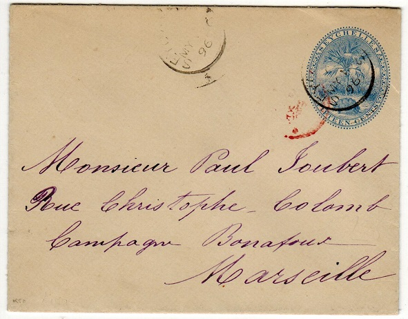 SEYCHELLES - 1895 15c blue PSE addressed to France. H&G 2.
