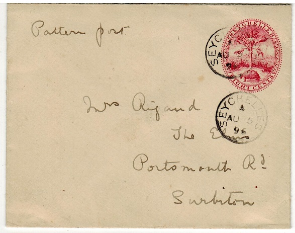 SEYCHELLES - 1895 8c carmine PSE addressed to UK.  H&G 1.