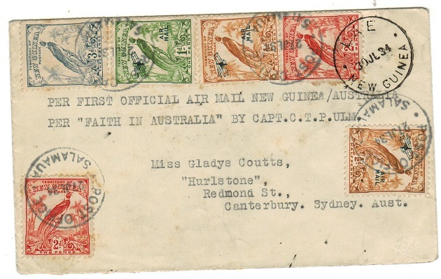 NEW GUINEA - 1934 first flight cover from Salamaua via Lae to Sydney by Capt C.T.P Ulm.