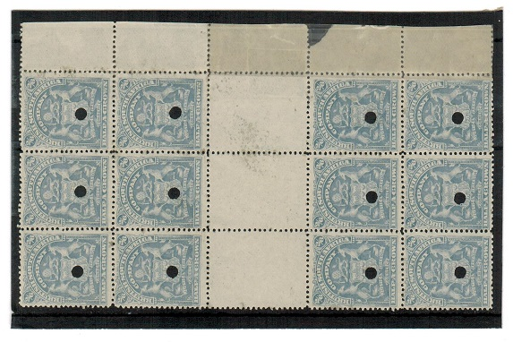 RHODESIA - 1906 2/6d bluish grey GUTTER marginal block of 12 with official security punch holes.