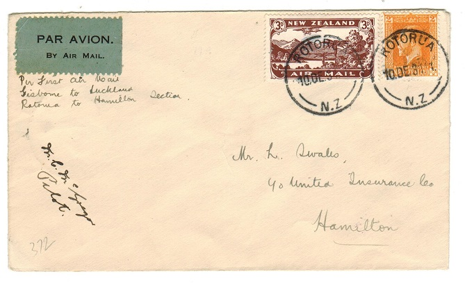 NEW ZEALAND - 1931 internal first flight cover pilot signed.