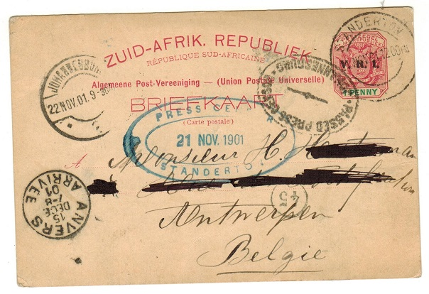 TRANSVAAL - 1900 1d carmine PSC to Belgium with PRESS CENSOR/STANDERTON h/s applied.