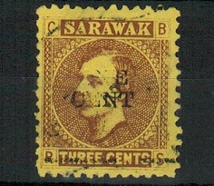 SARAWAK - 1892 ONE CENT on 3c brown on yellow adhesive used with part MISSING SURCHARGE.  SG 27