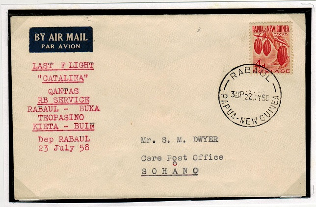 PAPUA NEW GUINEA - 1958 last first flight cover by