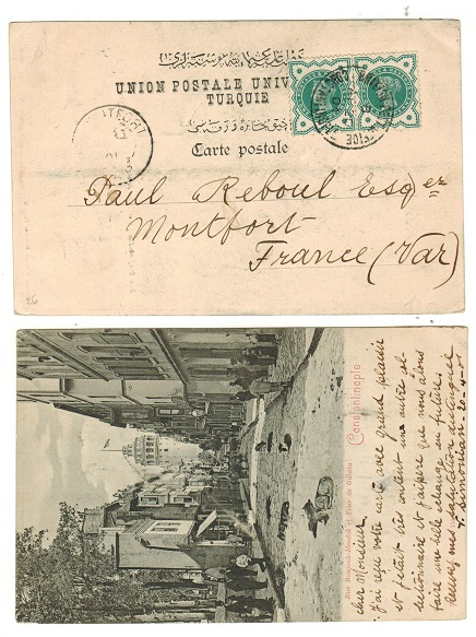 BRITISH LEVANT - 1901 postcard use to France with GB 1/2d green pair used at CONSTANTINOPLE.