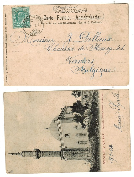 BRITISH LEVANT - 1904 postcard use to Belgium with GB 1/2d adhesive tied by s/r SMYRNA cds.