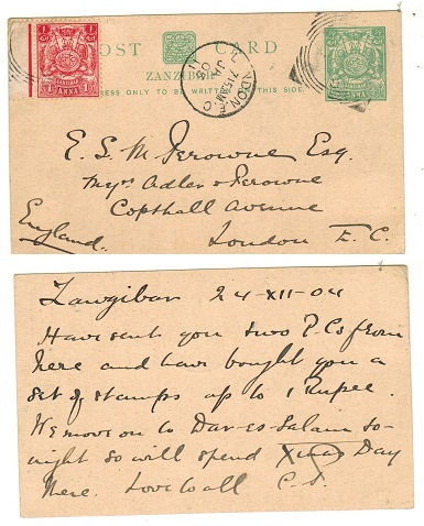 ZANZIBAR - 1904 1/2a light green PSC to UK uprated with additional 1a.  H&G 13.