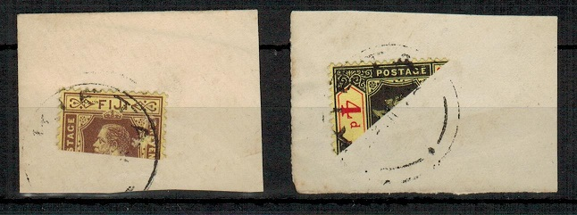 NEW GUINEA - 1930 (circa) Fiji 3d and 4d on two pieces BISECTED and cancelled KIETA in New Guinea.