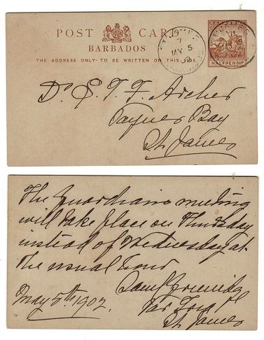 BARBADOS - 1892 1/2d reddish brown PSC used locally from ST.JAMES/7 parish.  H&G 8.
