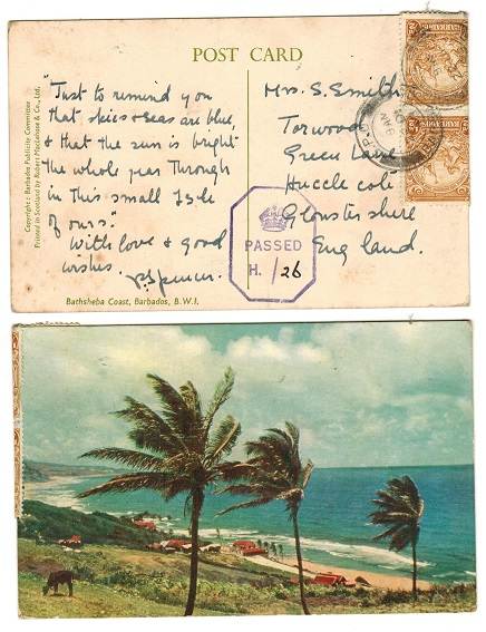 BARBADOS - 1943 1d rate postcard use to UK with PASSED/H./26 censor strike.