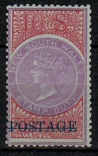 AUSTRALIA (New South Wales) - 1885 10/- mauve and claret mint