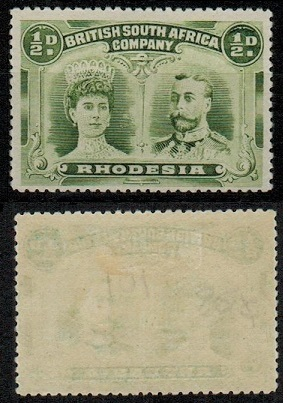 RHODESIA - 1910 1/2d yellow-green