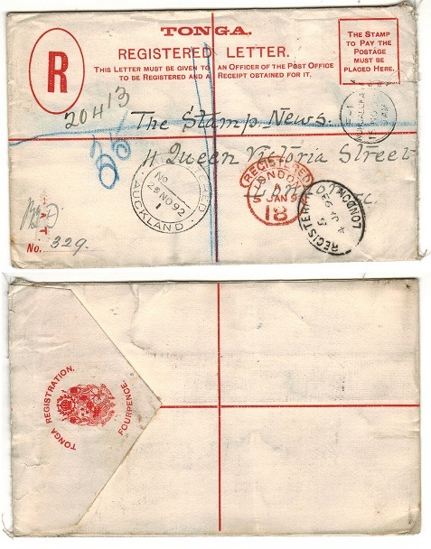 TONGA - 1892 4d red RPSE to UK (stamps removed). H&G 5.