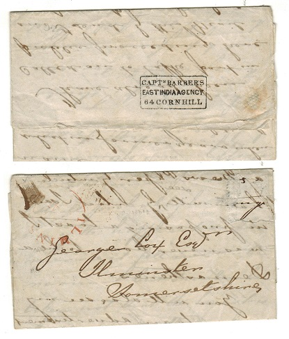 INDIA - 1850 (circa) entire to UK (stamp removed) with