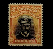 RHODESIA - 1913 3d black and deep yellow